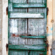 Old green wooden window blinds. Photo background texture — Stock Photo