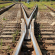 Modern railroad junction perspective. Industrial transportation background — Stock Photo #30393247