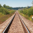 Long straight railway perspective with poles, green grass and blue sky — Foto Stock