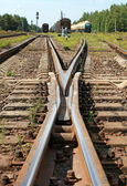 Modern railroad junction perspective. Industrial transportation background — Stok fotoğraf
