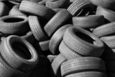 Pile of old used automotive tires — Stock Photo