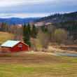 Springtime, empty rural Norwegian landscape with red wooden houses and forest on hills — Stock Photo