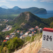White and red kilometer stone post on the roadside in Montenegro — Lizenzfreies Foto