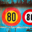 Stock Photo: Speed limit signs on the back side of old blue truck