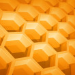 Abstract yellow honeycomb structure background. 3d render illustration — Stock Photo