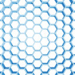 Foto Stock: Blue honeycomb structure isolated on white background. 3d render illustration