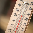 Closeup photo of household alcohol thermometer showing temperature in degrees Celsius — Stock Photo #30855055