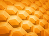 Abstract yellow honeycomb structure background. 3d render illustration — Foto Stock