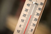 Closeup photo of household alcohol thermometer showing temperature in degrees Celsius — Stock Photo