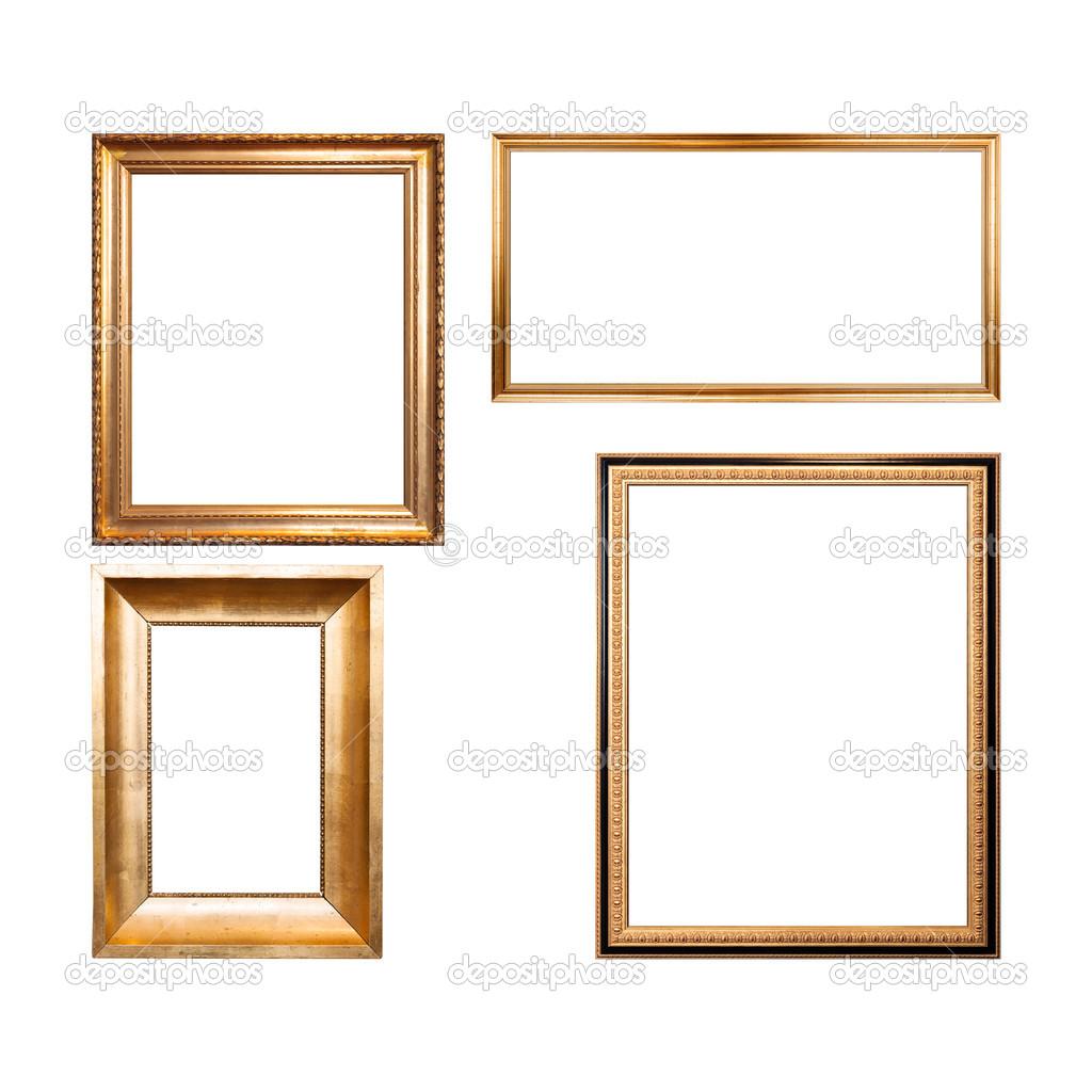 Conjunto de cuatro vac os marco de madera pintado con - Pintura dorada para madera ...