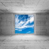 Tela quadrada com brilhos de céu nublado no interior do quarto de concreto abstrato — Fotografia Stock