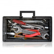 Black opened toolbox isolated on white — Stock Photo