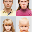 Set of real young Caucasian family face portraits on gray background — Stock Photo