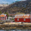 Traditional red wooden fishing barns and house on Norwegian coast — Stock Photo