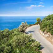 Mountain highway with blue sky and sea on a background — ストック写真