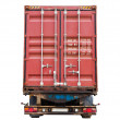Stock Photo: Back side of modern truck with standard red metal freight container