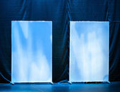 Abstract theatrical scenery stand on the stage with blue illumination — Stock Photo