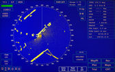 Blue modern ship radar screen with round map and standard text labels — Stock Photo