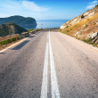 Stock Photo: Double dividing line on mountain highway in Montenegro