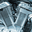 Shiny chromium-plated motorcycle engine closeup monochrome photo — Stock Photo