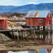 Coastal Norwegian red wooden barn and houses with piles — Stock Photo