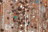 空复古 ad 木制广告牌纹理与生锈图钉 — 图库照片