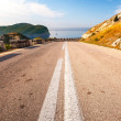 Stock Photo: Double dividing line on coastal mountain highway in Montenegro
