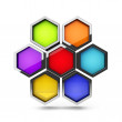 Abstract 3d colorful honeycomb design palette object isolated on white — Stock Photo