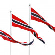 Three Norwegian pennant flags isolated on white — Stock Photo