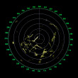 Green modern ship radar screen with round map on black — Stock Photo #32654403