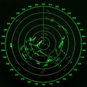 Modern ship radar screen with green round map on black background — Stock Photo