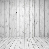 Abstract empty white room interior with wooden wall and floor — Stock Photo