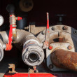 Water pump fragment with hydrant. Firefighters Equipment of fire truck — Stock Photo