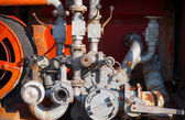 Water pump with hydrants. Firefighters equipment of old fire truck — Stock Photo