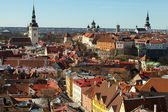 Aerial view on central part of old Tallinn, capital of Estonia — Stock Photo