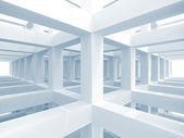 Abstract blue architecture background. Internal space of a modern braced construction — Stock Photo
