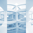 Abstract blue architecture background. Modern bent braced construction empty interior — Stock Photo