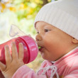 Little baby girl in autumn park drinks from pink plastic bottle — Zdjęcie stockowe #34702419