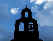Silhouette of Serbian Orthodox Church with bell in Petrovac, Montenegro — Stock Photo