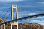 Typical automobile cable-stayed bridge. Rorvik town, Norway — Stock Photo