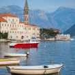 Landscape with boats. Old Perast town, Kotor bay, Montenegro — Stock Photo