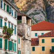 Kotor town street fragment with old clock tower , Montenegro — Stock Photo