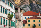 Kotor town street fragment with old clock tower , Montenegro — Photo