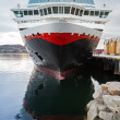 Front view of moored big modern passenger cruise ship — Stock Photo