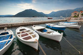 Fishing boats float moored in Perast town. Kotor Bay, Montenegro — Stock Photo