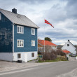 Small Norwegian village landscape with colorful wooden houses and flag — Stock Photo