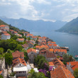 Adriatic sea coast. Perast town panoramic landscape, Kotor Bay, Montenegro — Stock Photo