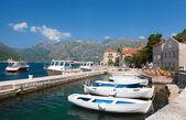 White fishing boats float moored in Perast. Kotor Bay, Montenegro — Stock Photo