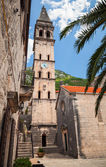 Tower of St. Nicholas Church in Perast town, Montenegro — Stock Photo