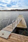 Küçük yüzer iskele merdiven norveç'ile — Stok fotoğraf